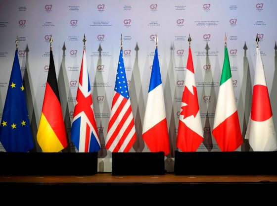 This picture taken on April 5, 2019, shows flags of European Union, Germany, United-Kingdome, the United States of America, France, Canada, Italy and Japan during a meeting to prepare the G7 Summit in Biarritz which will take place from August 25 to 27, 2019, in Dinard. (Photo by Damien MEYER / AFP) (Photo credit should read DAMIEN MEYER/AFP/Getty Images)